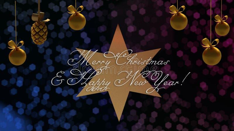 Weihnachts- und des neuen Jahresgrüße auf dem Stern mit dem blauen und purpurroten bokeh auf Hintergrund lizenzfreie abbildung