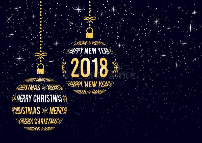 Weihnachts- und des neuen Jahresgrußkarte 2018 stock abbildung