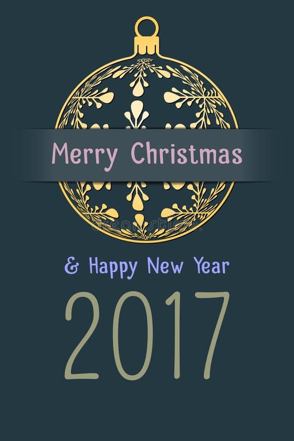 Weihnachts- und des neuen Jahresgrußkarte 2017 lizenzfreie abbildung