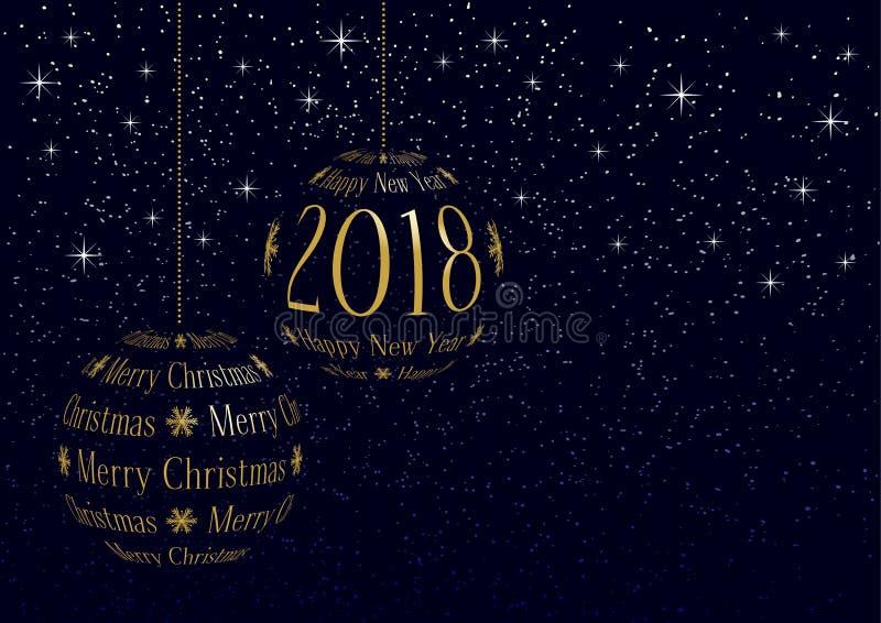 Weihnachts- und des neuen Jahresgrußkarte 2018 vektor abbildung