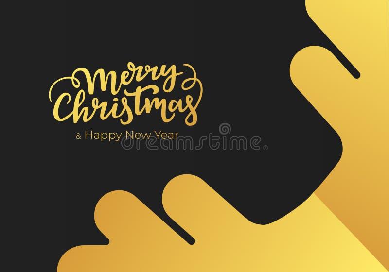 Weihnachts- und des neuen Jahresgrußkarte gemacht vom schwarzen Papierhintergrund und mit Goldbeschriftung und -schneeflocke verz stock abbildung