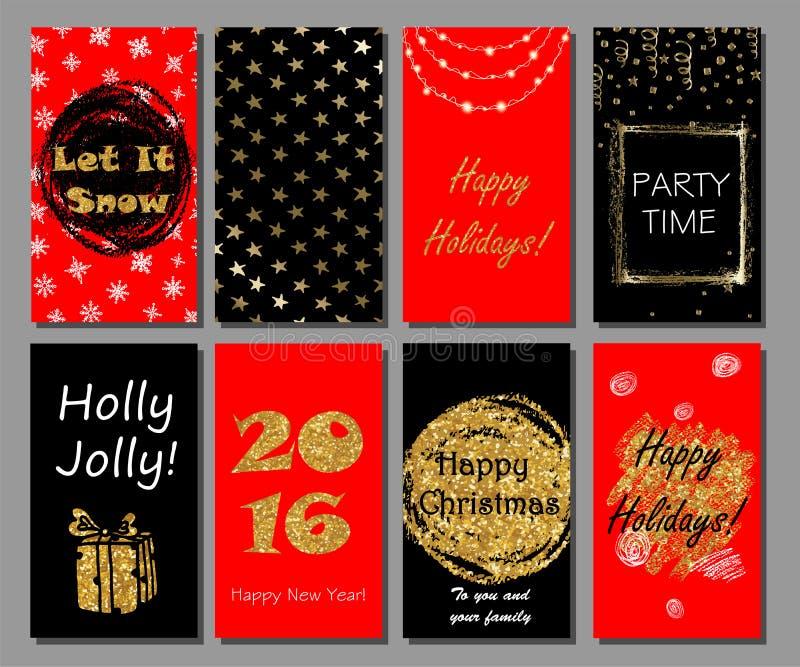 Weihnachts- und des neuen Jahreshanddrawn Kartensammlung Weihnachtsparteieinladung stock abbildung