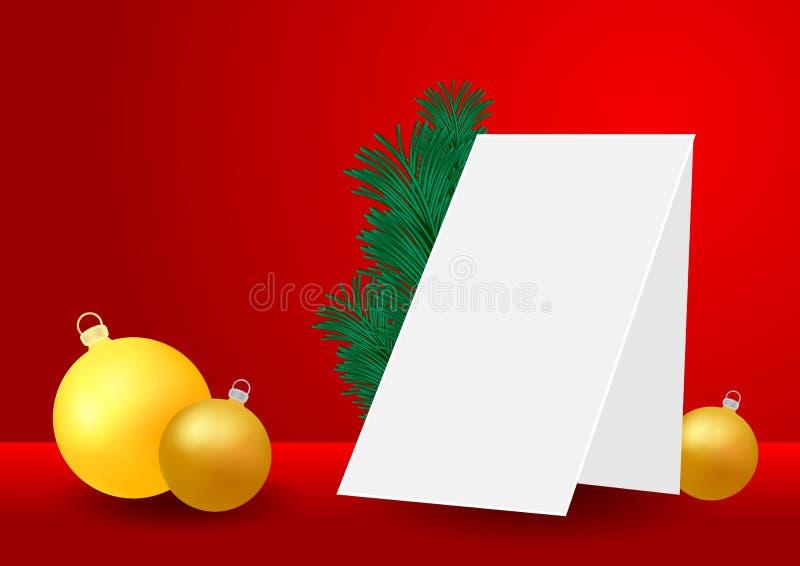 Weihnachts- und des neuen Jahreshintergrund mit goldener Flitter-, Fichten- und Papierkarte Schein oben für Anzeigen, Winter sais stock abbildung