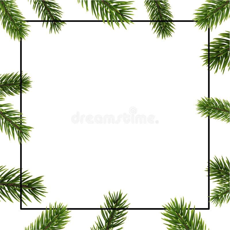 Weihnachts- und des neuen Jahreshintergrund mit quadratischer Rahmen- und Tannenkleie lizenzfreie abbildung