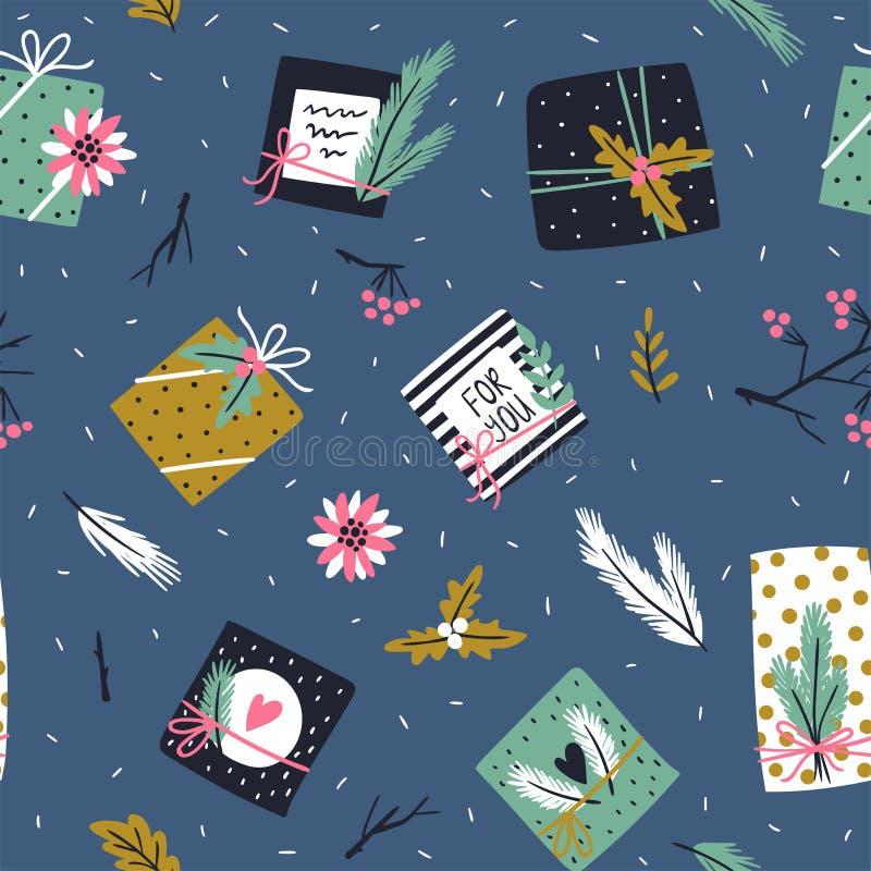Weihnachts- und des neuen Jahreshintergrund Vector nahtloses Muster mit Weihnachtsbaum, Geschenkboxen und Poinsettia vektor abbildung