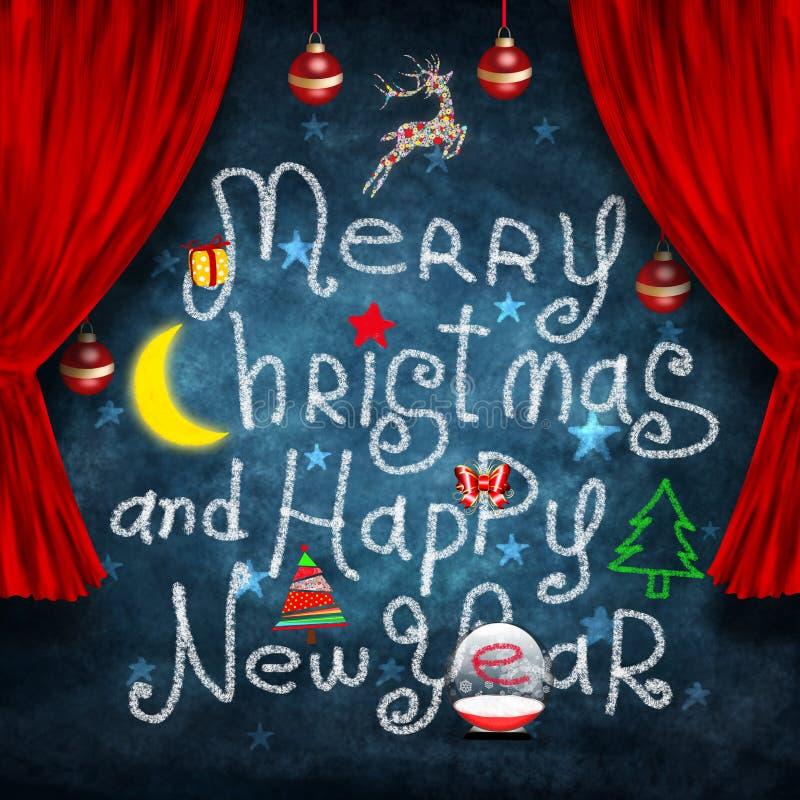 Weihnachts- und des neuen Jahreskarte stock abbildung