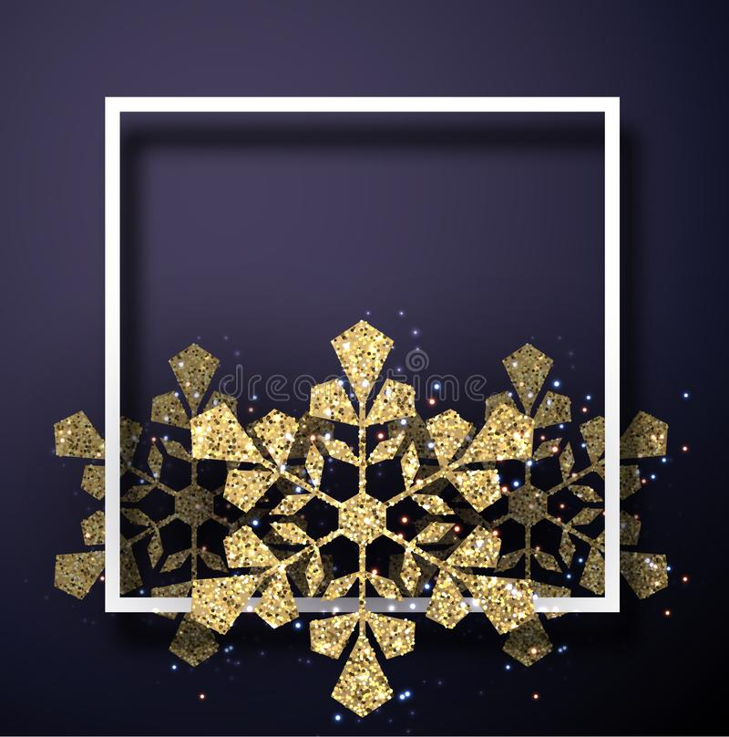 Weihnachts- und des neuen Jahreskarte mit quadratischem Rahmen und goldenem glänzendem s lizenzfreie abbildung