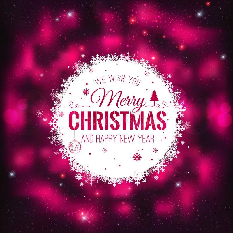 Weihnachts- und des neuen Jahreskarten mit typografischem auf glänzendem Weihnachtshintergrund Auch im corel abgehobenen Betrag stock abbildung