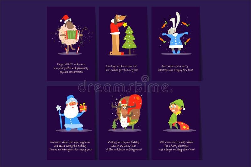 Weihnachts- und des neuen Jahreskartenschablonen Schafe mit Akkordeon, Hund nahe Feiertagsbaum, Häschen mit Karotte, Sankt, Rotwi vektor abbildung