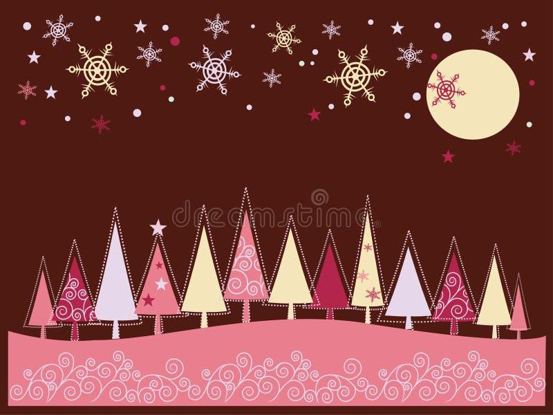 Weihnachts- und des neuen Jahreslandschaft lizenzfreie abbildung