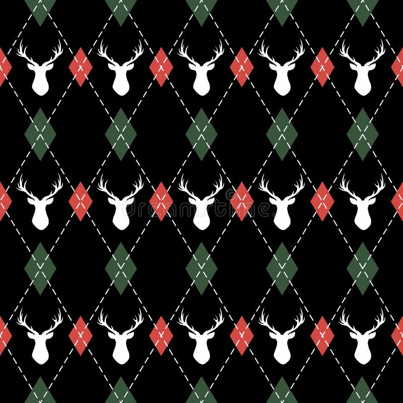 Weihnachts- und des neuen Jahresmuster argyle mit Rotwild lizenzfreie abbildung