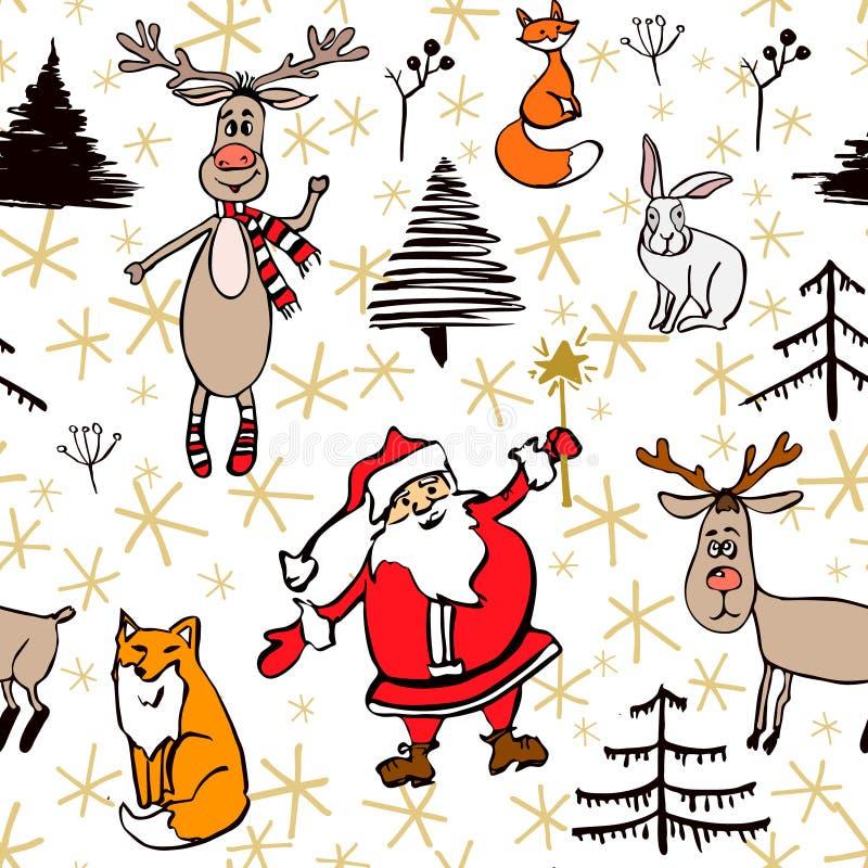 Weihnachts- und des neuen Jahresnahtloses Muster stock abbildung
