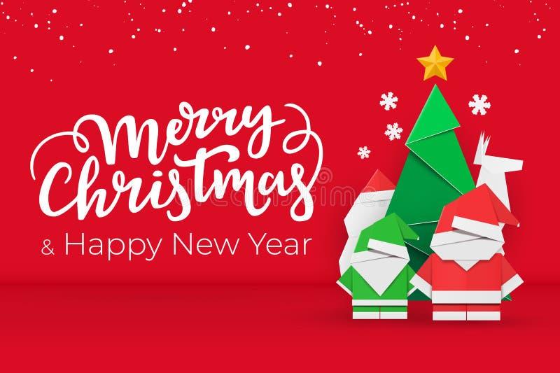 Weihnachts- und des neuen Jahrespostkarte mit Büttenpapier Weihnachtselementen auf rotem festlichem Hintergrund mit Schnee lizenzfreie abbildung