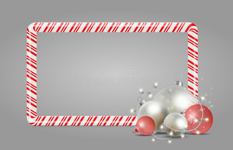Weihnachts- und des neuen Jahressüßigkeitsrahmen Helle Sterne und Bälle für Y stock abbildung