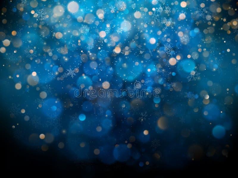 Weihnachts- und des neuen Jahresschablone mit weißen unscharfen Schneeflocken, grellem Glanz und Scheinen auf blauem Hintergrund  stock abbildung