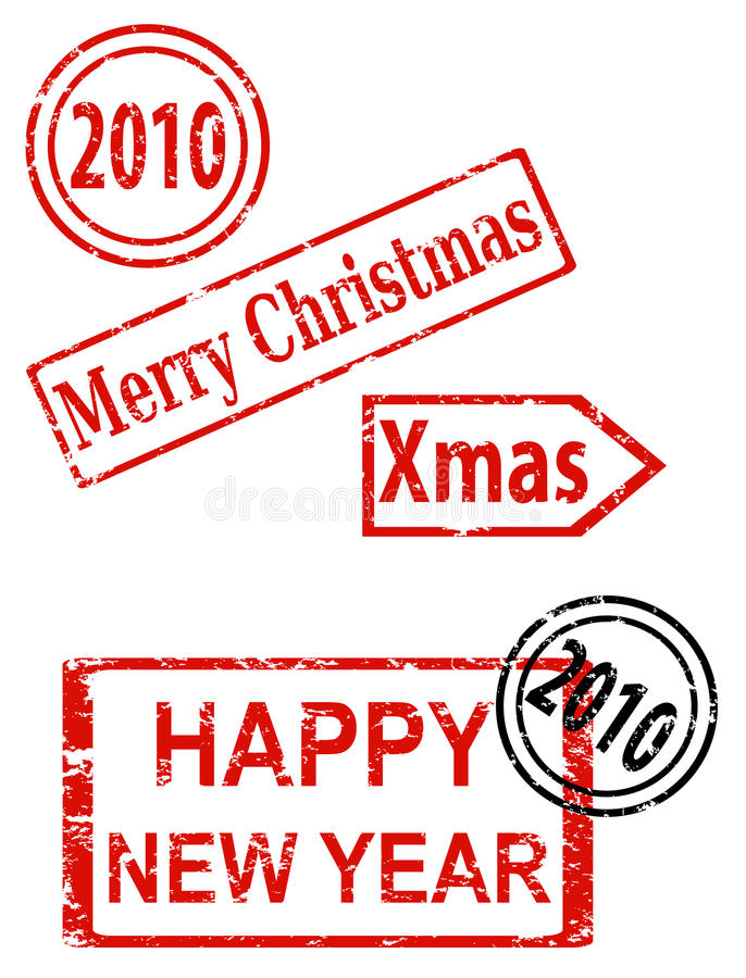 Weihnachts- und des neuen Jahresstempel stock abbildung