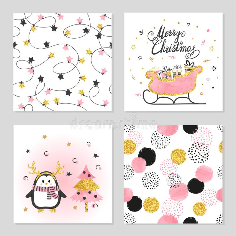 Weihnachts- und des neuen Jahresvektor stellte mit nettem Pinguin, Pferdeschlitten und Mustern ein vektor abbildung