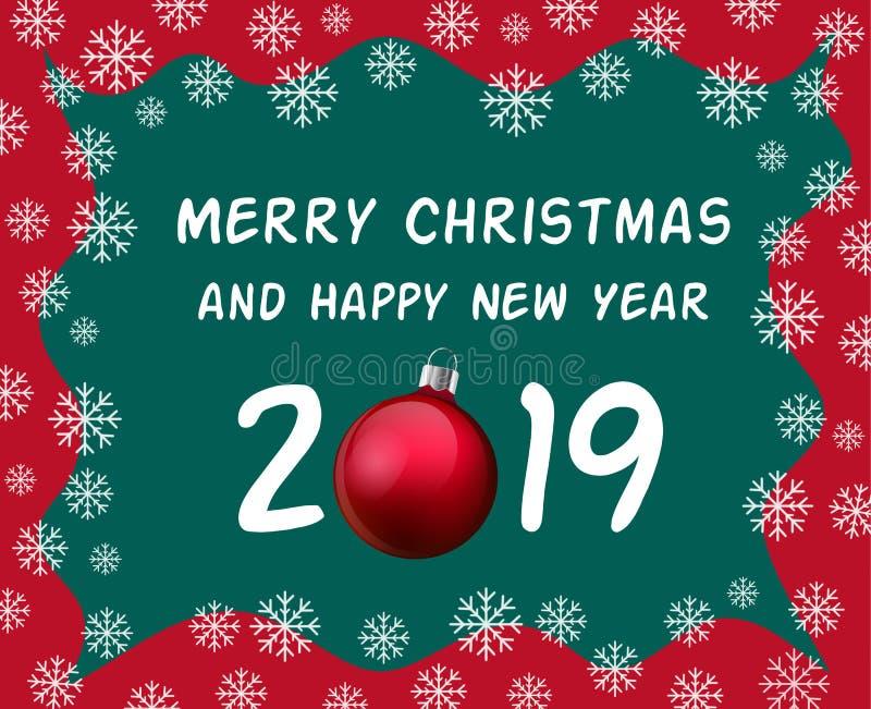 Weihnachts- und guten Rutsch ins Neue Jahr-Feierkarte, Feiertagsgruß mit Weihnachtsball, realistischer roter Flitter und Text 201 stock abbildung