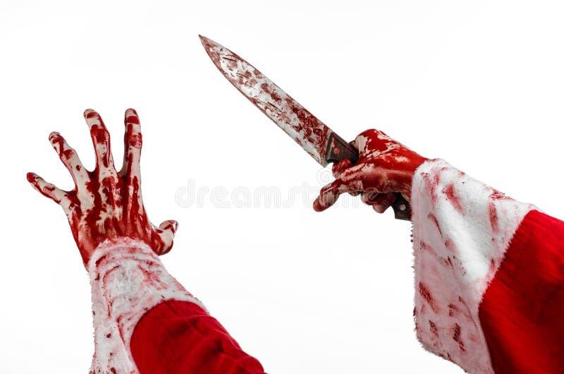 Weihnachts- und Halloween-Thema: Sankt blutige Hände eines Irren, das ein blutiges Messer auf einem lokalisierten weißen Hintergr lizenzfreie stockbilder