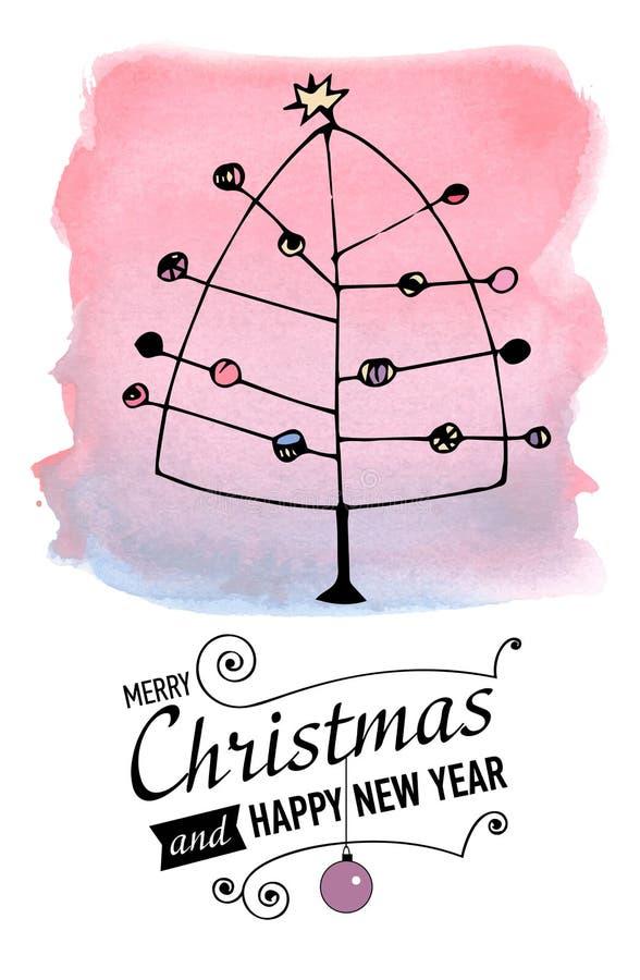 weihnachts und neues jahr karte mit der gezeichneten hand. Black Bedroom Furniture Sets. Home Design Ideas