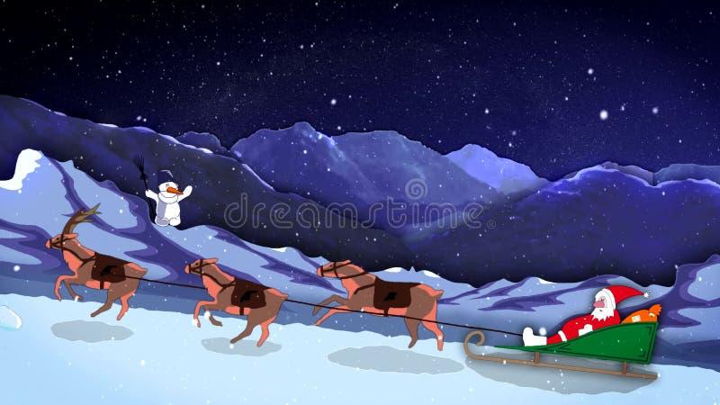Weihnachts- Und Neues Jahr-lustige 2d Karikatur-Animation Santa ...