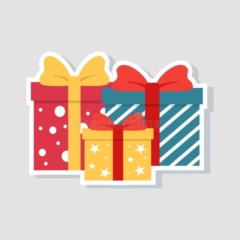 Weihnachts-und neues Jahr-Symbole Geschenkboxen, Geschenke lokalisiert auf Weiß Buntes eingewickelt Verkaufs- und Einkaufskonzept lizenzfreie abbildung