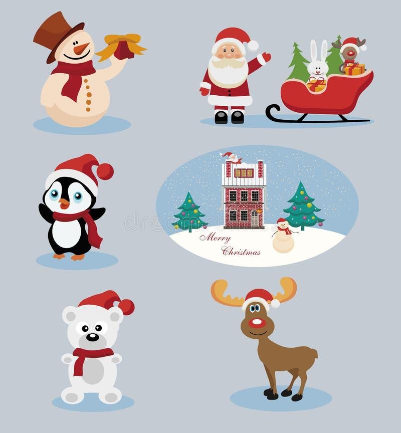 Weihnachts-und Neujahrsfeiertag-Ikonen stockfotos