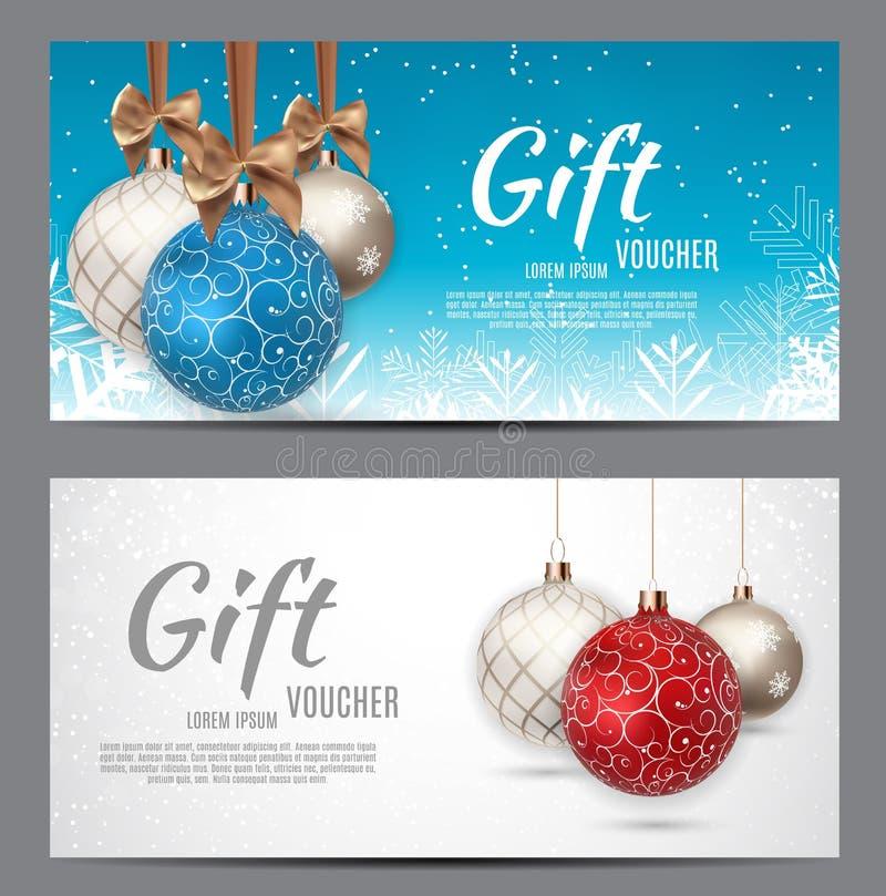 Weihnachts-und Neujahrsgeschenk-Beleg, Rabatt-Kupon-Schablonen-Vektor-Illustration lizenzfreie abbildung