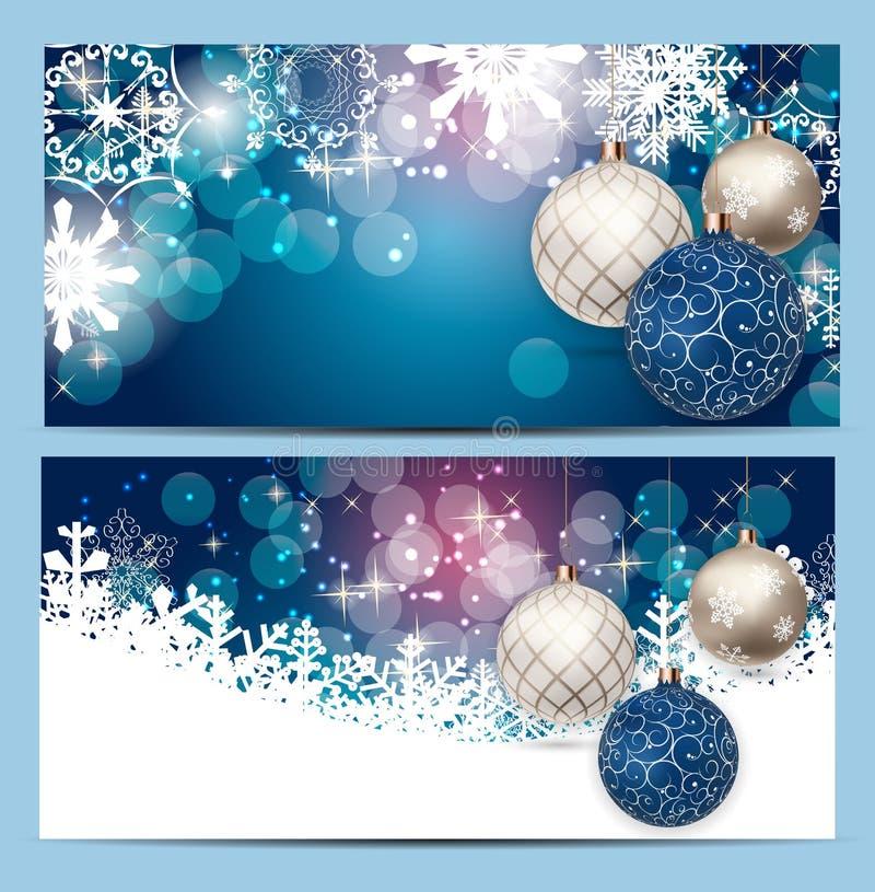 Weihnachts-und Neujahrsgeschenk-Beleg, Rabatt-Kupon-Schablonen-Vektor-Illustration stock abbildung