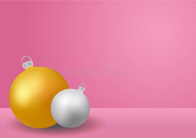 Weihnachts- und Rosatabellenhintergrund des neuen Jahres mit goldenem und silbernem Flitter Schein oben für Anzeigen, Wintersaiso lizenzfreie abbildung