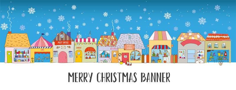 Weihnachts- und Winterbanner mit Häusern und Schnee Lichtdesign, Vektorgrafik vektor abbildung