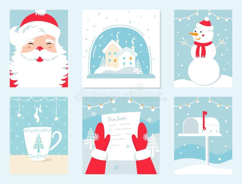 Weihnachts-und Winterurlaub-Vektor-Karten Santa Claus, Schnee-Kugel, Schneemann, Buchstabe zu Sankt und Briefkasten lizenzfreie abbildung