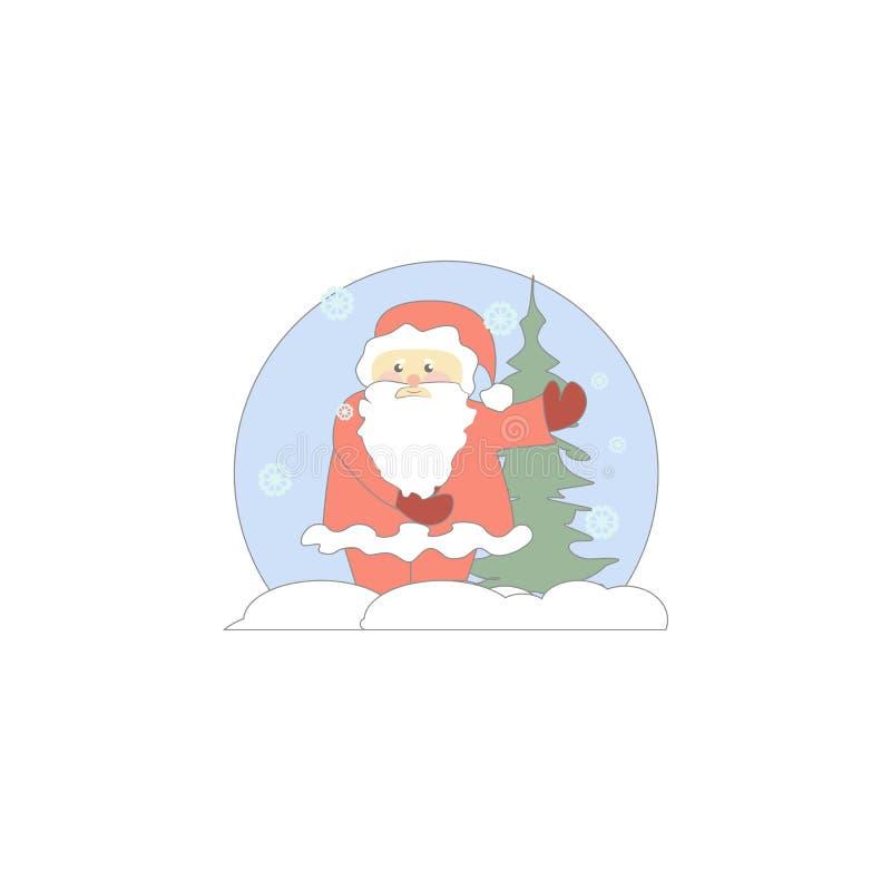 Weihnachts-Weihnachtsmann-Ikone Element von Weihnachten für bewegliche Konzept und Netz apps Farbige Weihnachts-Santa Claus-Illus lizenzfreie abbildung