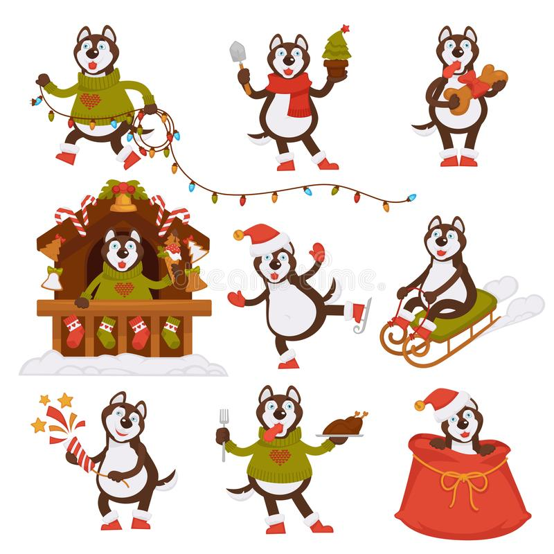 Weihnachts-Wolfhund-Sankt-Zeichentrickfilm-Figur-Vektorikonenwinterurlaub-Grußkarte vektor abbildung