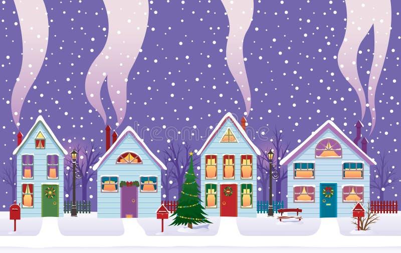 Weihnachtsabend in der Stadt stock abbildung