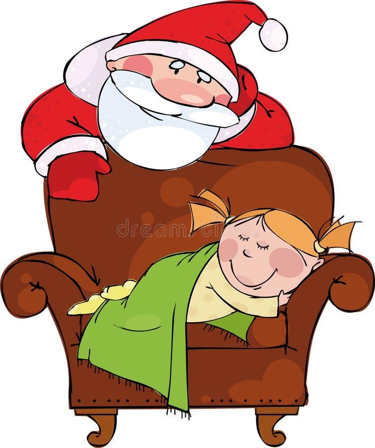 Weihnachtsabend. Sankt mit schlafendem Mädchen lizenzfreie abbildung