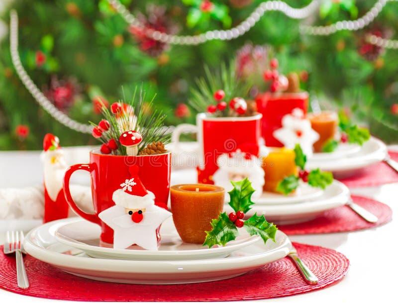 Weihnachtsabendessendekoration lizenzfreie stockbilder