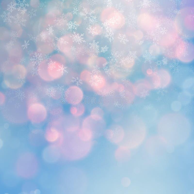 Weihnachtsabstrakte Schablone Heller Hintergrund mit Schneeflocken und Sternen ENV 10 vektor abbildung