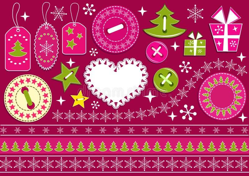 Weihnachtsansammlung für Einklebebuch. vektor abbildung