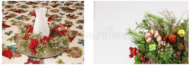 Weihnachtsanzeigenkerzenlaternengruß-Weiß collag lizenzfreies stockbild
