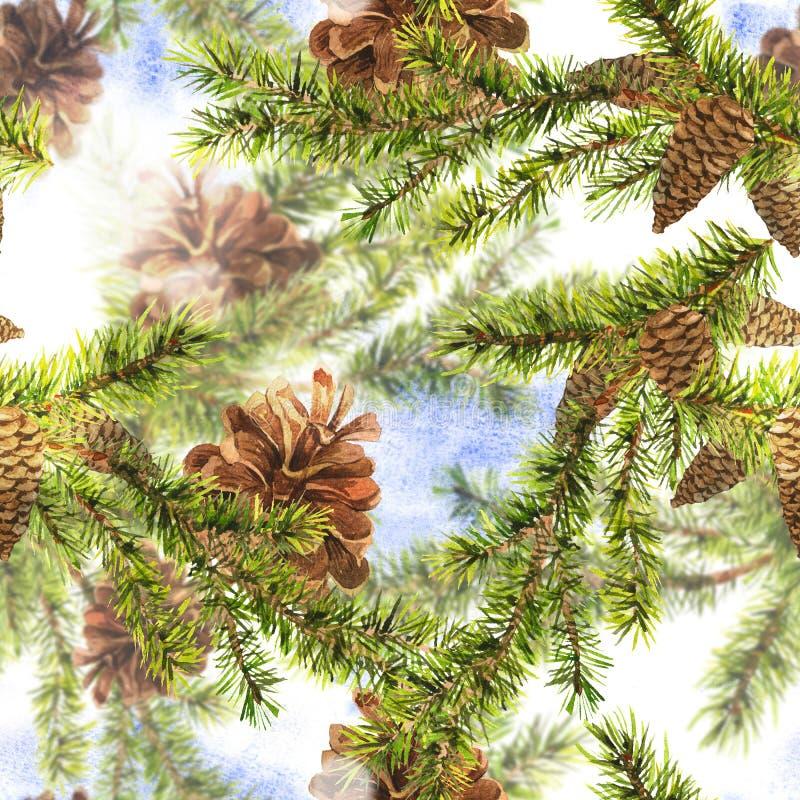 Weihnachtsaquarell-nahtloser Hintergrund lizenzfreies stockbild
