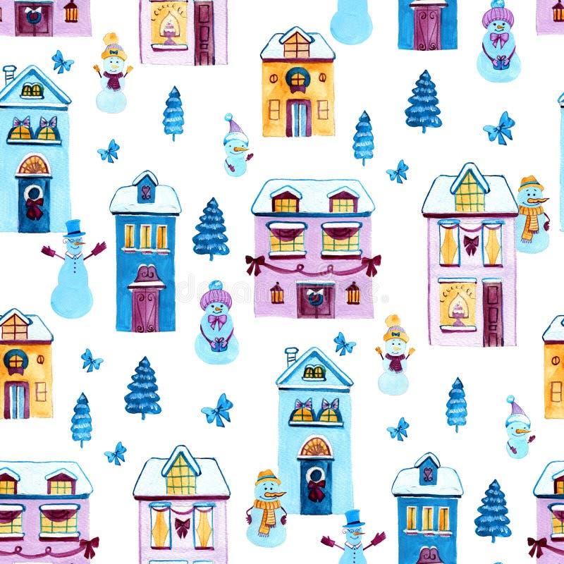 Weihnachtsaquarellhintergrund Nahtloses Muster mit Häusern und snowmans stock abbildung