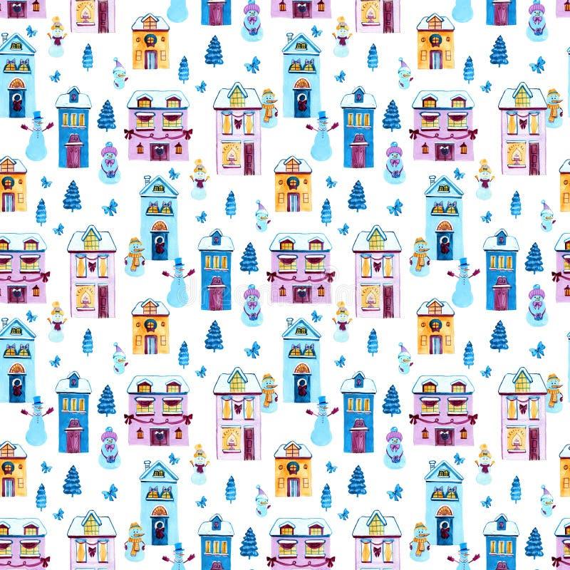 Weihnachtsaquarellhintergrund Nahtloses Muster mit Häusern und snowmans Gestaltungselemente für Tapete, wickelnd ein lizenzfreie abbildung