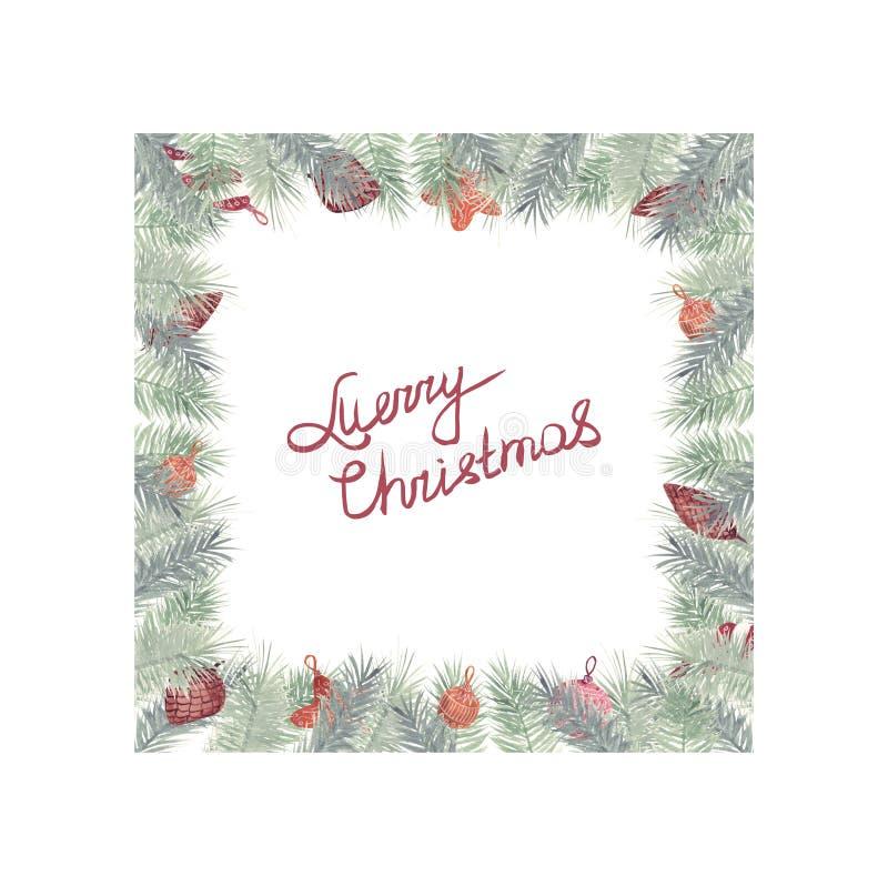 Weihnachtsaquarellrahmen mit Winterblumen, -zweigen und -spielwaren lizenzfreie abbildung