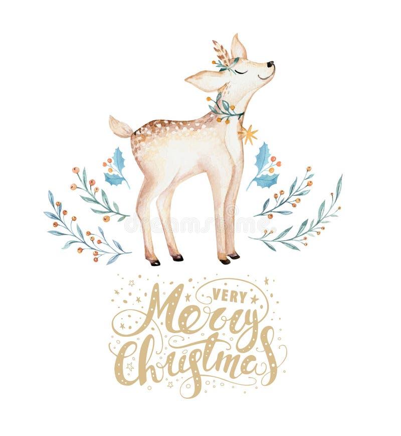 Weihnachtsaquarellrotwild Netter Kinderweihnachtswaldtierillustration, Karte des neuen Jahres oder Plakat Hand gezeichnetes lokal stock abbildung