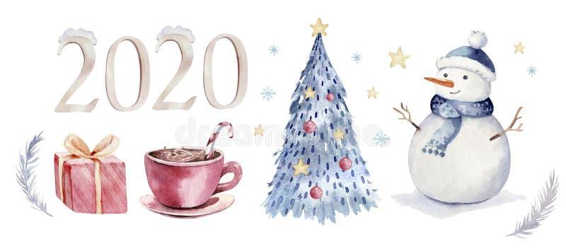 Weihnachtsaquarellsatz Elemente Winter lokalisierte Illustration Feiertagsentwurf mit Schneemann Gru?karte des neuen Jahres vektor abbildung