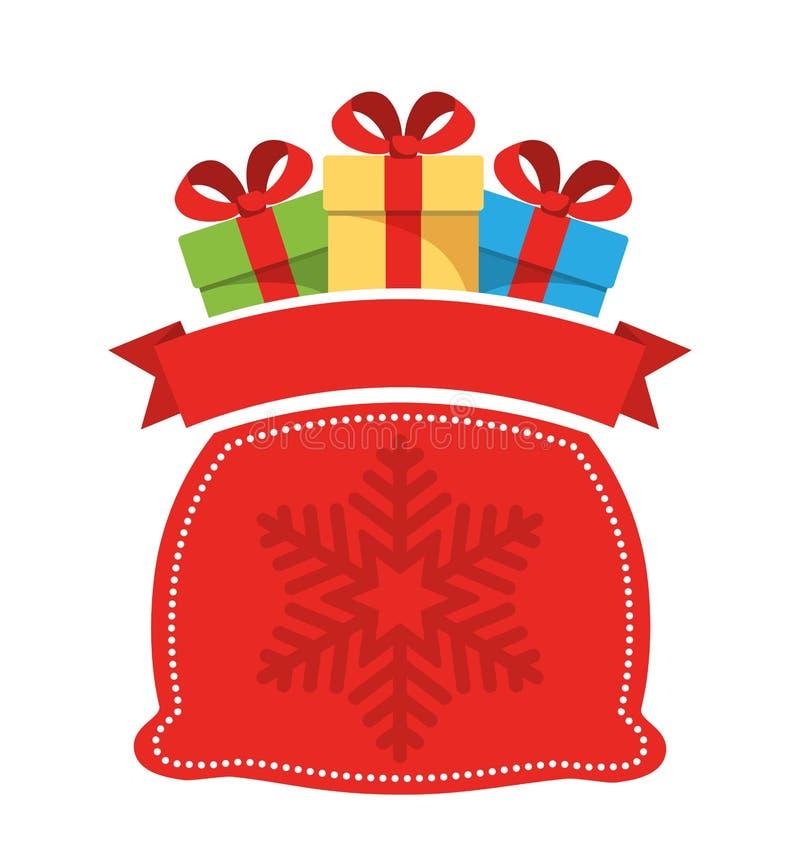 Weihnachtsaufkleber-Ikone flach mit Tasche mit Geschenkboxen auf W stock abbildung