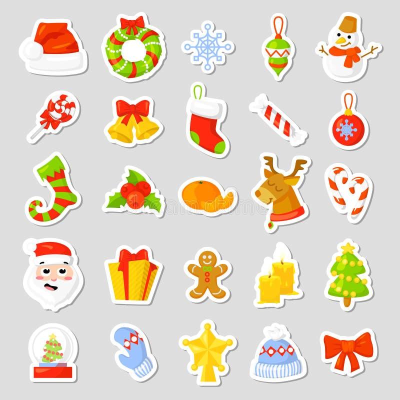 Weihnachtsaufkleber stellten Sammlungs-Vektor ein karikatur Traditionelle Symbole des neuen Jahres Ikonengegenstände Getrennt stock abbildung
