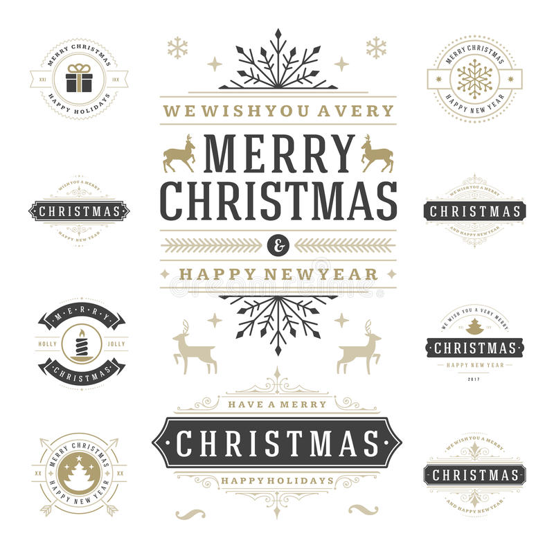 Weihnachtsaufkleber-und -ausweis-Vektor-Gestaltungselement-Satz lizenzfreie abbildung