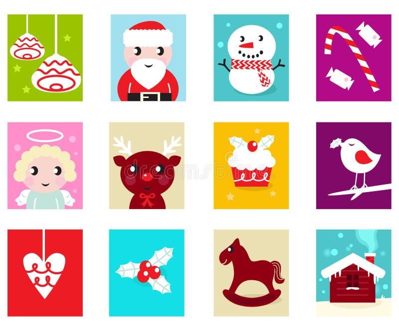 Weihnachtsaufkommen-Kalenderelemente 2 vektor abbildung